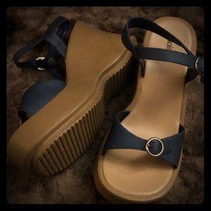 90s Vintage Denim Platforms Chunky Heels